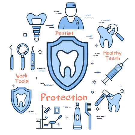 Vector line blue round concept of teeth protective shield. Dental treatment, prosthetics and prevention. Outline illustration and icons of tooth, dentist, floss, office, tools and medication Stockfoto - 144440686