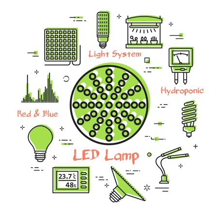 Vector concept of hydroponic and growth led light - round red lamp  イラスト・ベクター素材