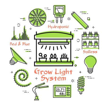 Vector concept of hydroponic and growth led light - grow light system