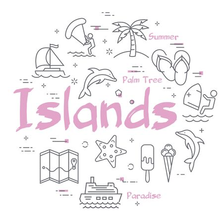 Colorful icons in summer islands line banner Vector Illustration
