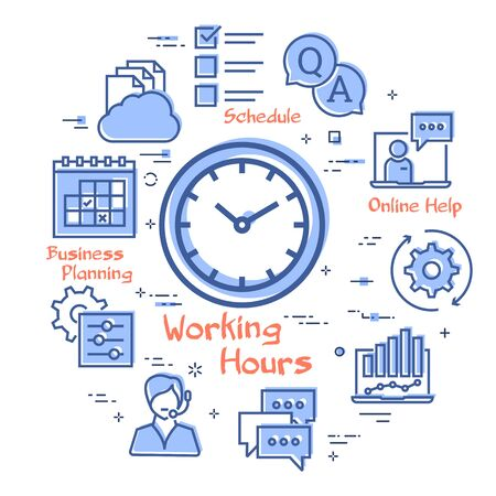 Vector concept of online support - working hours icon