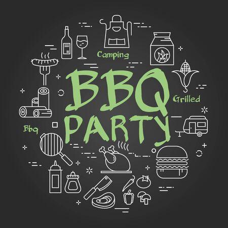 Vector black line banner for picnic and grilling - bbq party Ilustração