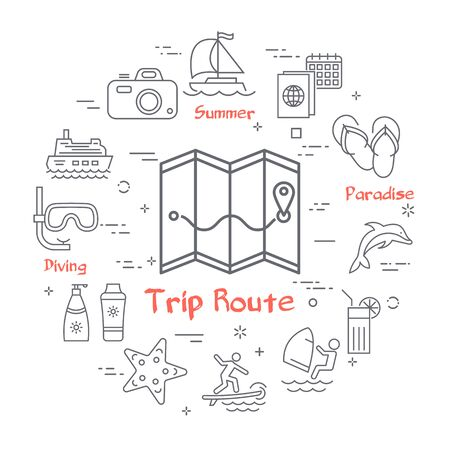 Vector trip and summertime vacation icons on white Ilustração Vetorial