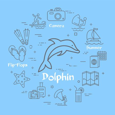 Vector blue dolphin and summer time vacation icons Ilustração