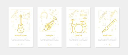 Vector banners - guitar, trumpet, drum kit, block flute