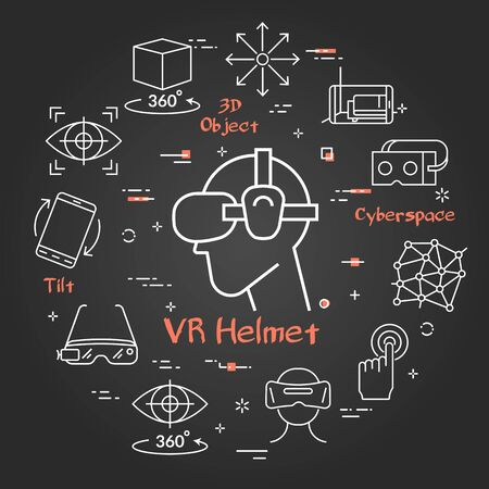 Vector black concept of virtual reality diving. Line icon of VR helmet in center and equipment for internet game entertainment icons. Innovations technology in white linear style