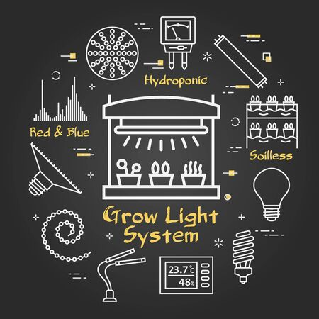 Vector black concept of hydroponic and growth led light - grow light system