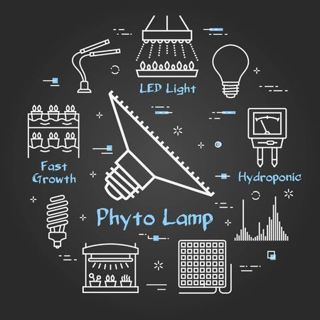 Vector black line concept of hydroponic and growth phyto led light - phyto lamp bulb icon. Various equipment for illumination and cultivation of crops and plants. Modern innovative technologies