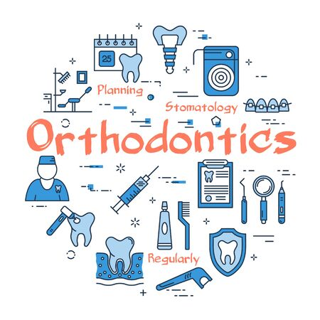 Vector linear round web banner of orthodontics  イラスト・ベクター素材