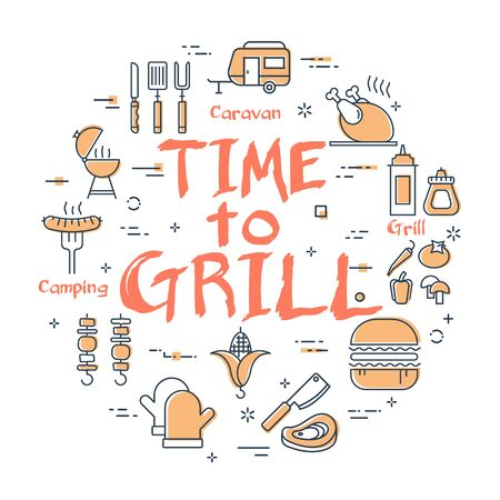 Vector line round concept of outdoor barbecue and picnic. Promo red text - time to grill in center. The different food and camping equipment outline icons are arranged in a circle of web white banner