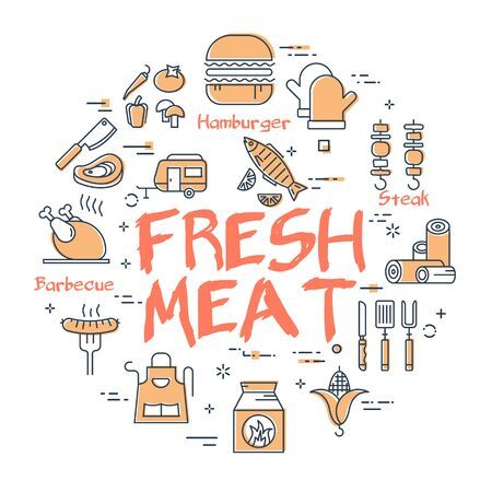 Vector line banner for picnic and barbecue party - fresh meat