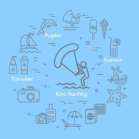 Vector linear kite surfing entertainment and summer icons Ilustração Vetorial