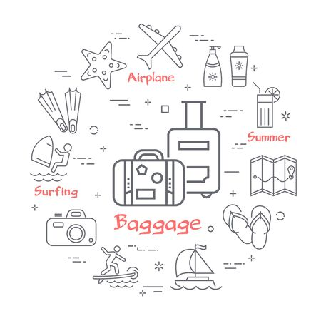 Vector linear concept of summer time with baggage icon