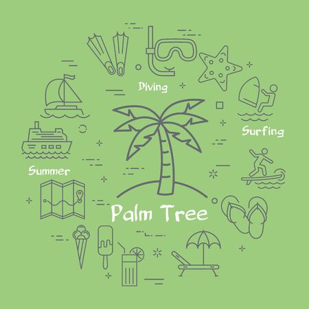 Vector linear concept of palm tree on green