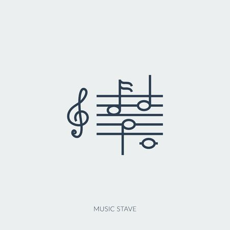 Vector outline icon of music - note stave