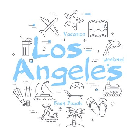 Vector colorful icons of summer time banner with text Los Angeles Vector Illustration