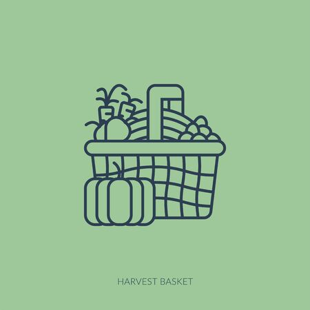 Vector outline icon of home farming and gardening - harvest basket