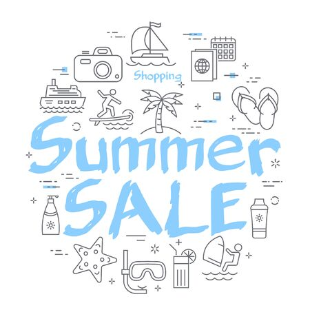 Blue text Summer Sale with linear summer time icons