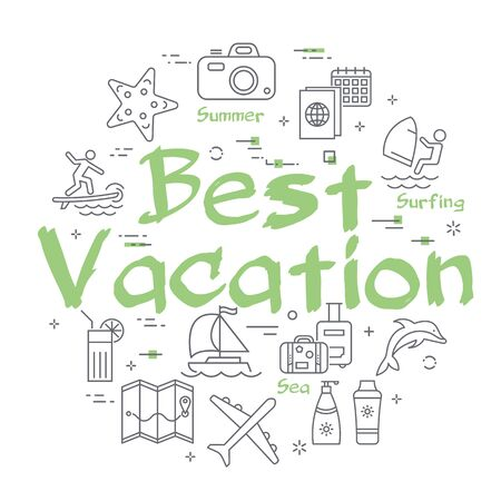 Green text Best Vacation with linear summer time icons