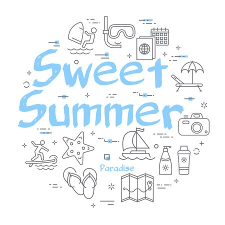 Blue text Sweet Summer with linear summer time icons