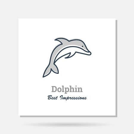 simple company icon example with dolphin as Sea Life