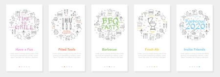 Vertical vector bbq and picnic summer five banners - fresh air, invite friends and fried tools Vectores