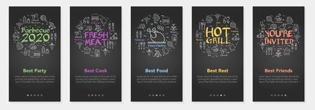 Vertical vector bbq and picnic summer five banners - fresh meat and hot grill Vectores