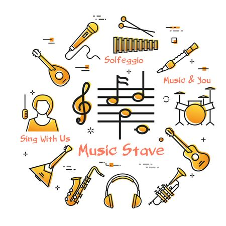 Vector linear banner for music - Notes Stave