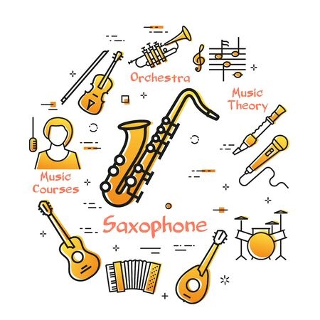 Vector linear banner for music - Saxophone and Jazz Stock Illustratie