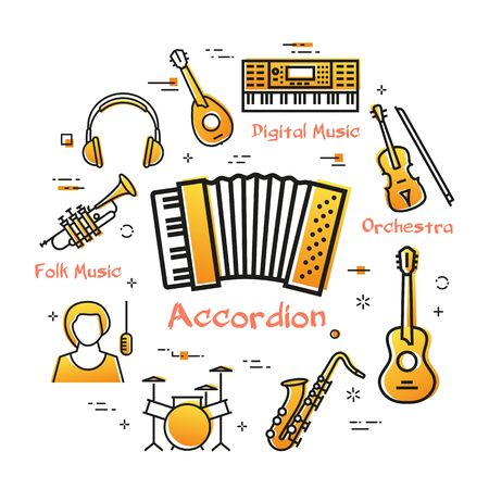 Vector linear banner for music - accordion instrument