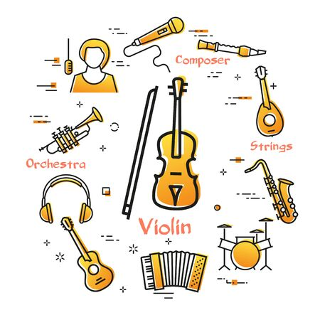linear banner for music - violin and bow Stock Illustratie