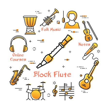 Vector linear banner for music - block flute