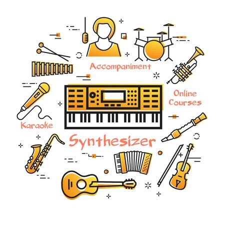Vector linear banner for music - Synthesizer playing