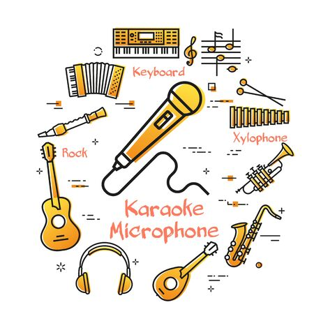 Vector linear banner for music - Karaoke Microphone