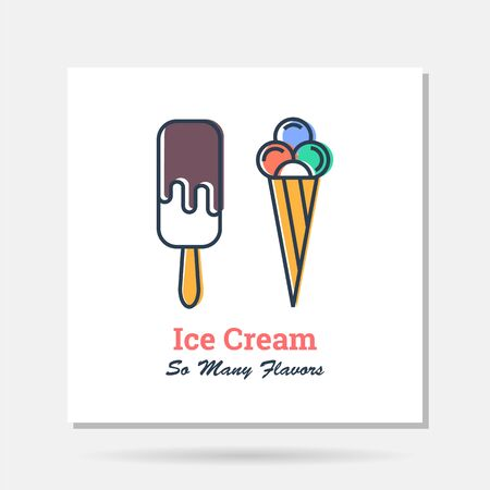 Vector simple company logo example - two types of ice cream
