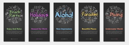 Vertical black vector summer five banners - beach party, holiday and diving Illustration