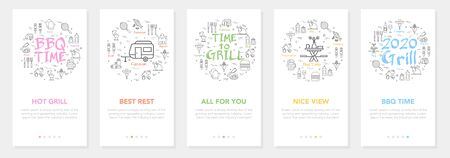 Vertical vector bbq and picnic summer five banners - hot grill and best rest Vectores