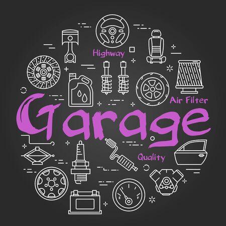 Vector black line round banner with text Garage