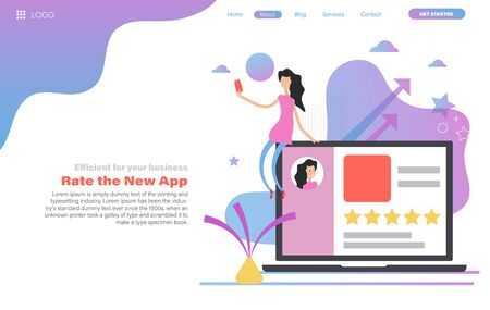 Vector web header template of woman give a five star rating from mobile