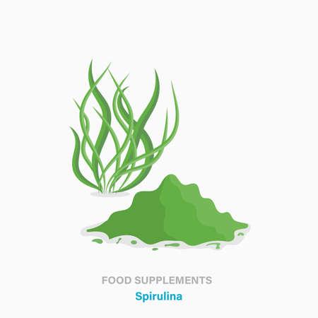 Vector flat isolated icon of food supplements - spirulina algae plant Illustration