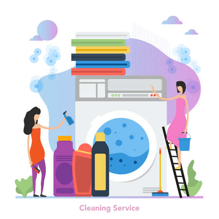 Vector square concept of cleaning service in flat style Ilustrace