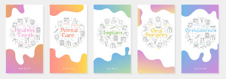 Vertical five gradient banners with line concept of dentistry - orthodontics and dental oral surgery Illustration