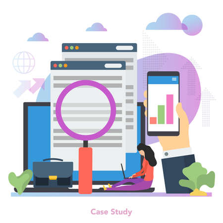 Vector square concept of case study in flat style Illustration