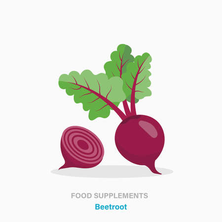 Vector flat isolated icon of food supplements - beetroot