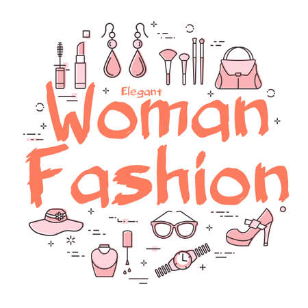 White banner of woman accessories with red text Woman Fashion Illustration