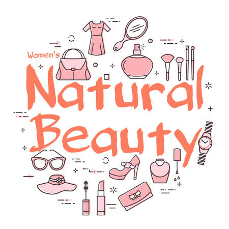 White banner of woman accessories with red text Natural Beauty Illustration
