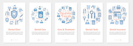 Vertical five banners with line concept of dentistry - dental clinic and dental tools