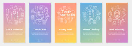 Vertical five banners with line concept of dentistry - teeth prosthesis and woman dentistry Illustration
