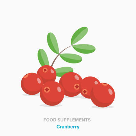 Vector flat isolated icon of food supplements - cranberry