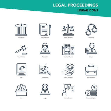 Vector set of line icons of legal proceedings and law Illustration